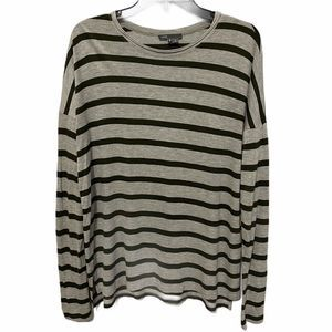 VINCE Gray and Green Long Sleeve Striped Tee Sz M